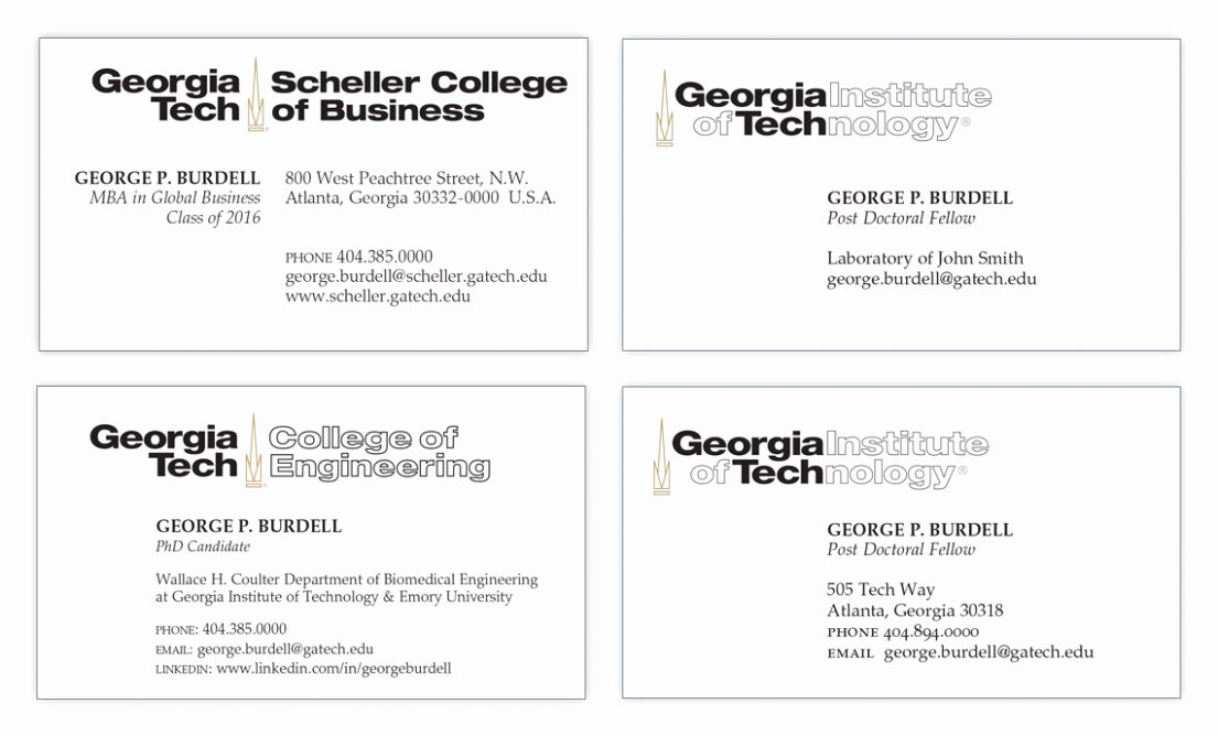 Student Business Cards Template Best Of Ten Features Georgia Tech Business Card Template that