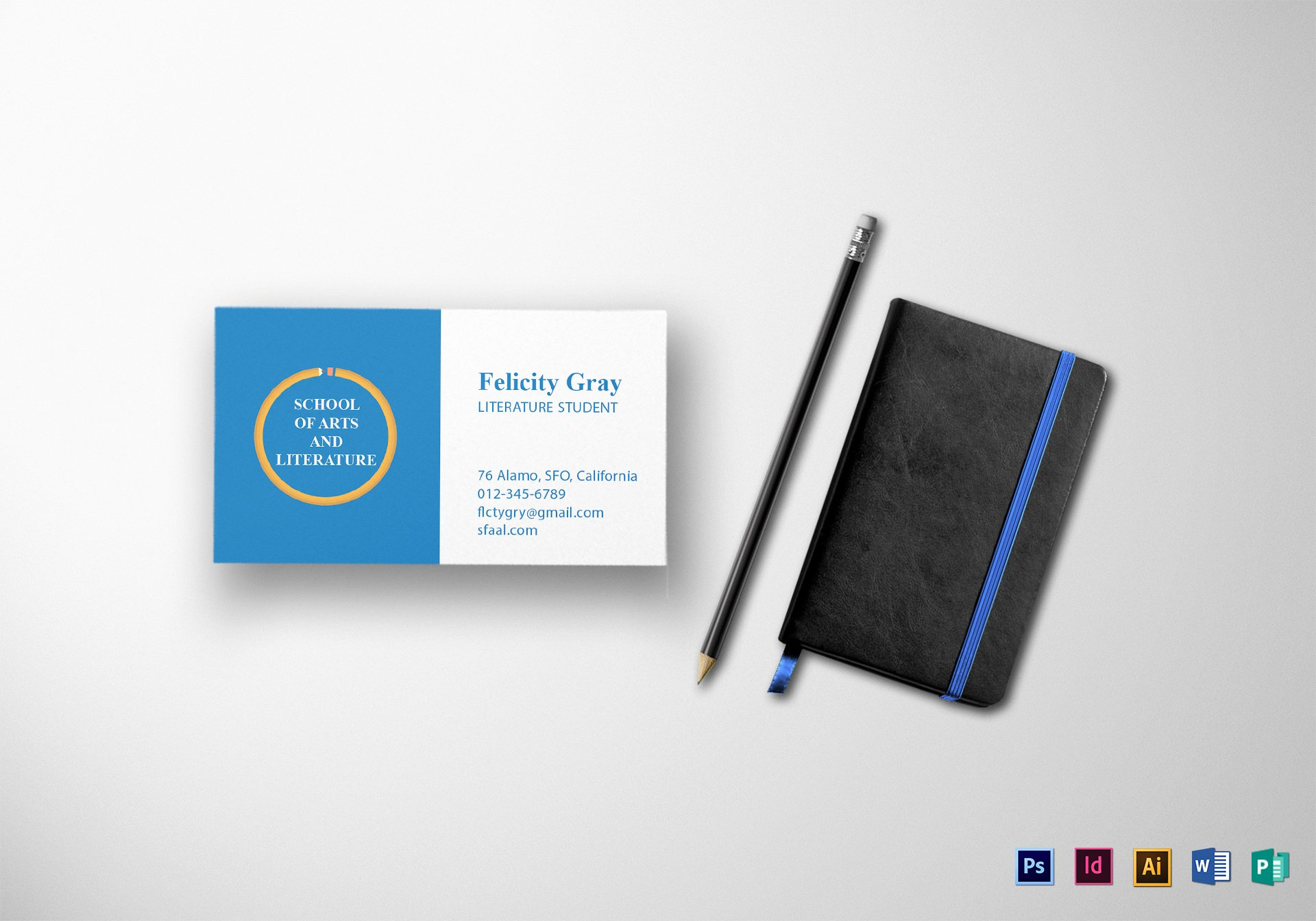 Student Business Cards Template Elegant Student Business Card Design Template In Psd Word