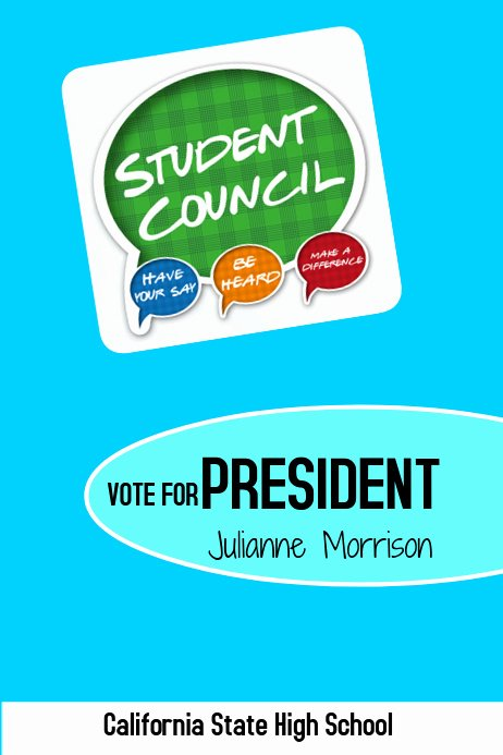 Student Council Poster Templates New Student Council President Template