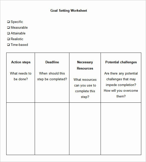 Student Goal Setting Worksheet Pdf Awesome 8 Goal Setting Worksheet Templates Free Word Pdf Documents Download