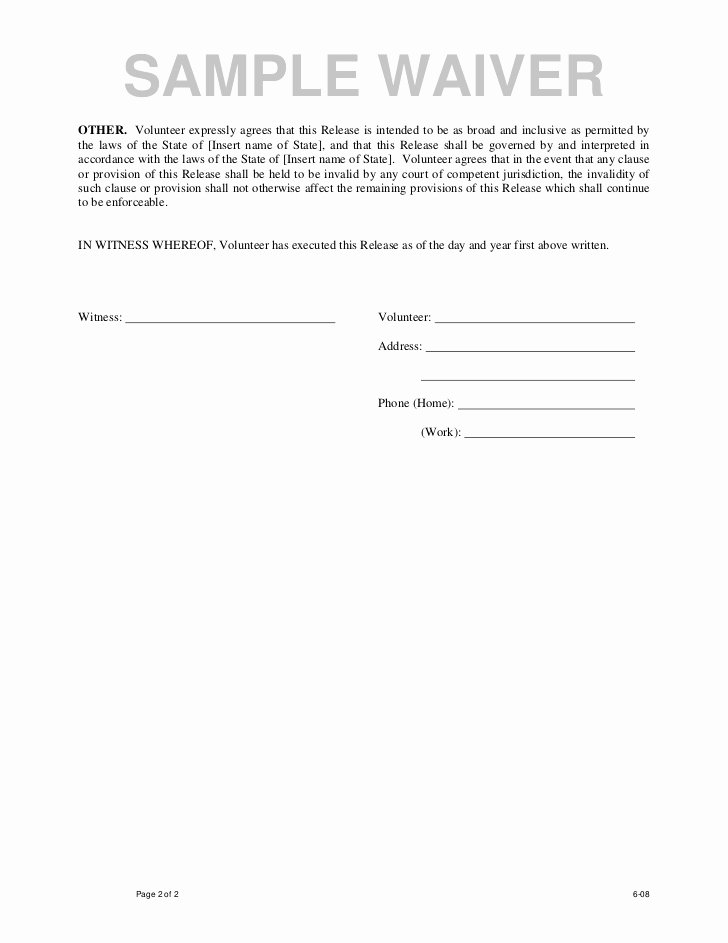 Student Release form Template Awesome Sample Waiver form Free Printable Documents
