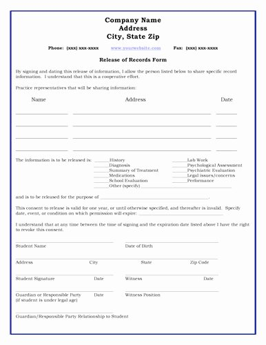 Student Release form Template Beautiful 11 Best S Of Student Health Record form Student Record Release form Medical Information