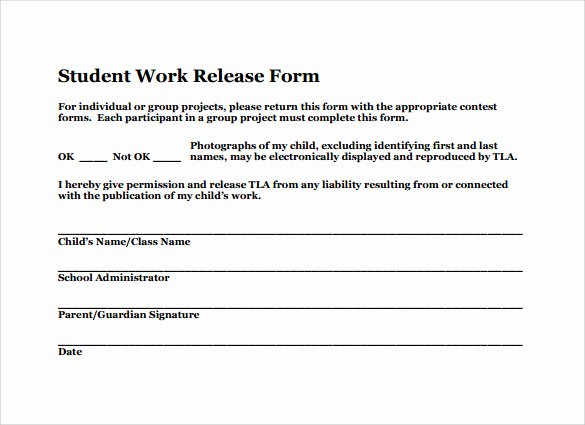 Student Release form Template Best Of Sample Work Release forms 9 Download Free Documents In Pdf Word