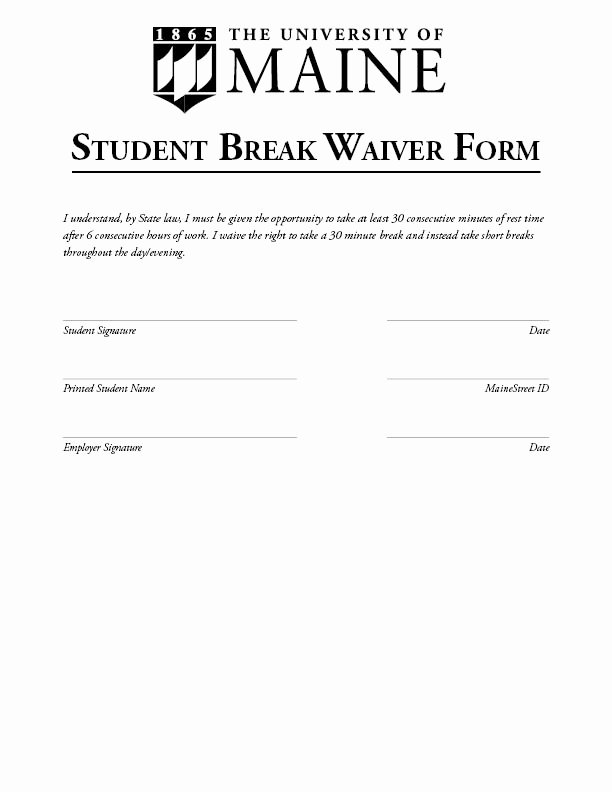Student Release form Template Elegant Break Waiver Sample Student Employment University Of Maine