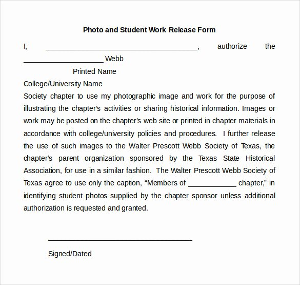 Student Release form Template Elegant Sample Work Release forms 9 Download Free Documents In Pdf Word