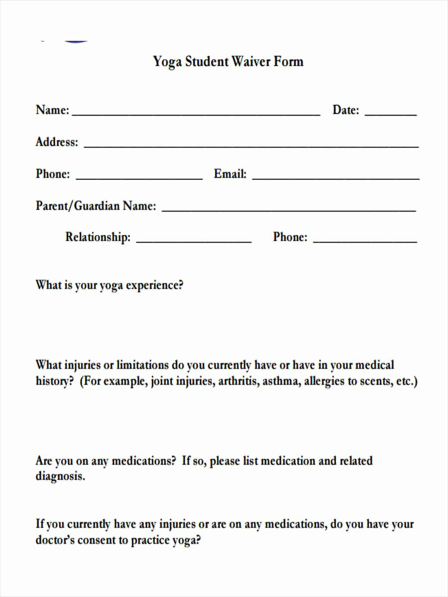 Student Release form Template Luxury Free 7 Sample Yoga Waiver forms In Word