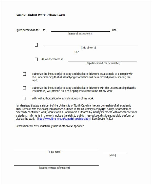 Student Release form Template New Free 10 Sample Work Release forms In Pdf