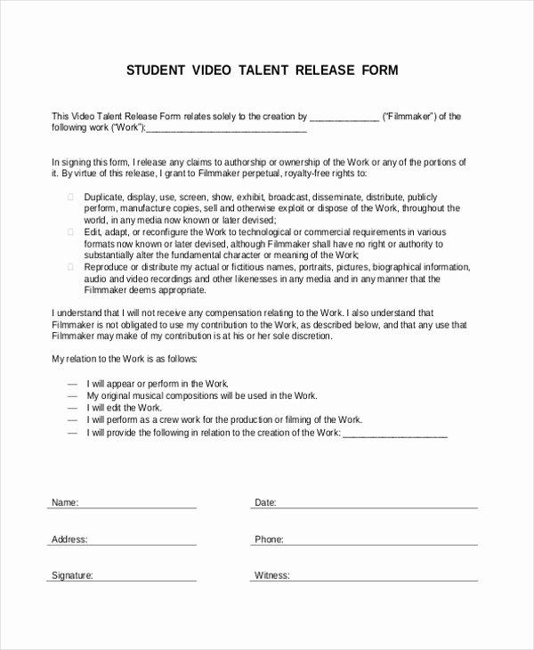 Student Release form Template Unique Free 10 Sample Talent Release forms In Word