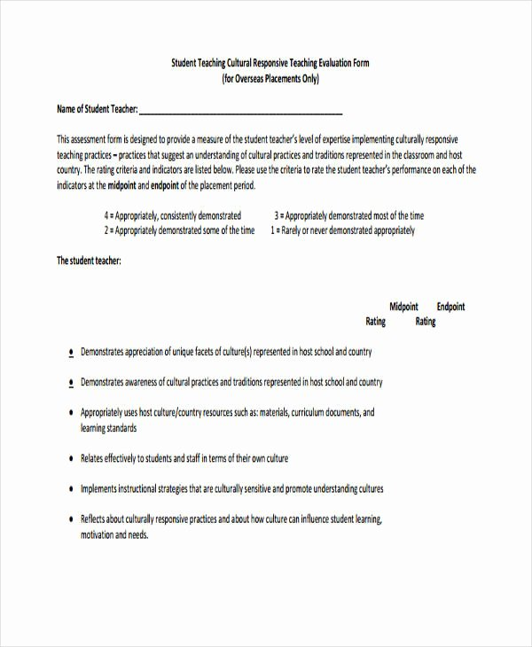 Student Teacher Evaluation form Beautiful Free 54 Student Evaluation forms