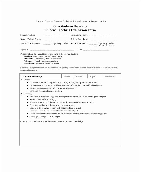 Student Teacher Evaluation form Elegant Sample Teaching Evaluation form 9 Examples In Word Pdf