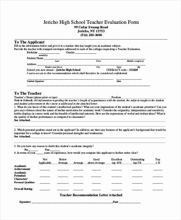 Student Teacher Evaluation form Fresh Free 19 Sample Teacher Evaluation forms