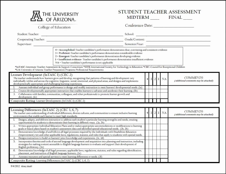 Student Teacher Evaluation form Inspirational Teacher Evaluation form