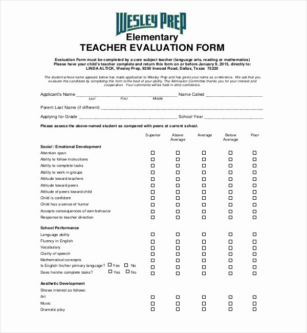 Student Teacher Evaluation form Unique Free 18 Sample Teacher Evaluation forms