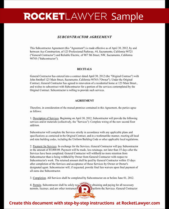 Subcontractor Non Compete Agreement Beautiful Subcontractor Agreement Template