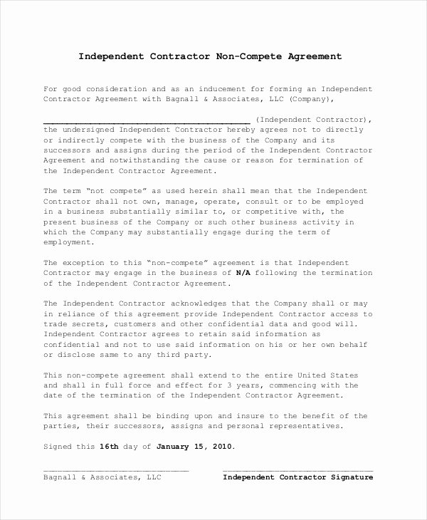 Subcontractor Non Compete Agreement Fresh Non Pete Agreement 11 Free Word Pdf Documents Download