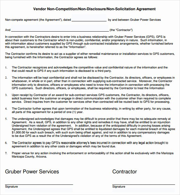 Subcontractor Non Compete Agreement Inspirational Non Pete Agreement 7 Free Samples Examples format