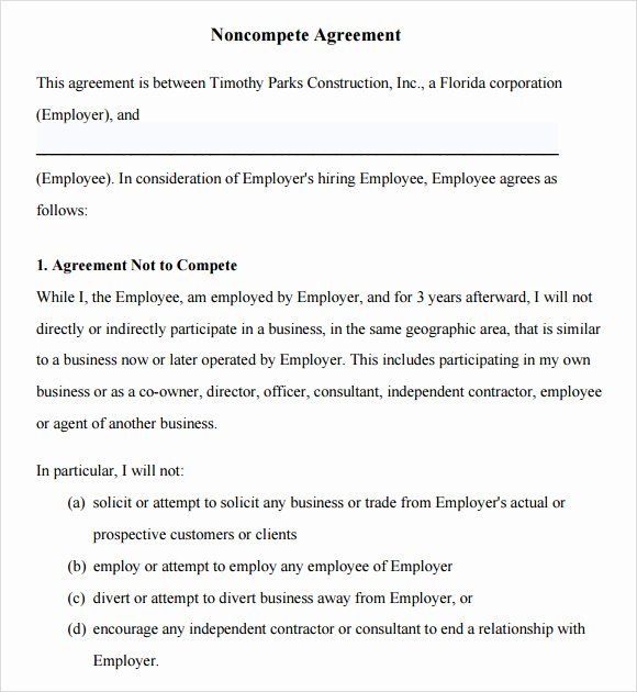 Subcontractor Non Compete Agreement New Download Free Non Pete Agreements Templates Free software Trainsoftware