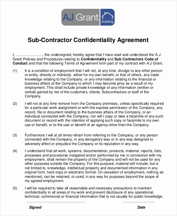 Subcontractor Non Compete Agreement Template Fresh 12 Simple Subcontractor Agreement Templates Word Pdf Pages