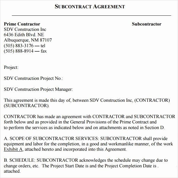 Subcontractor Non Compete Agreement Template Fresh 18 Subcontractor Agreement Templates