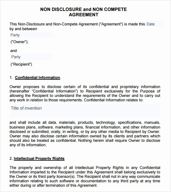 Subcontractor Non Compete Agreement Template Unique Non Pete Agreement Template 12 Documents In Pdf Word