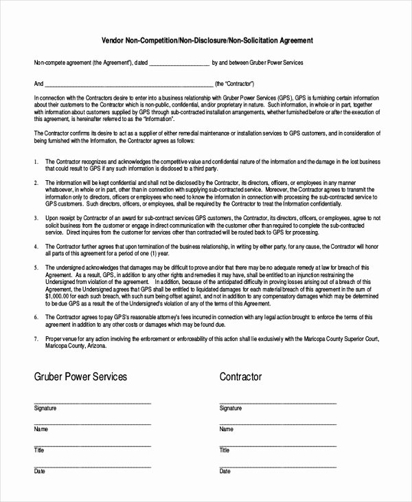 Subcontractor Non Compete Agreement Unique 9 Contractor Non Pete Agreement Templates Free Sample Example format