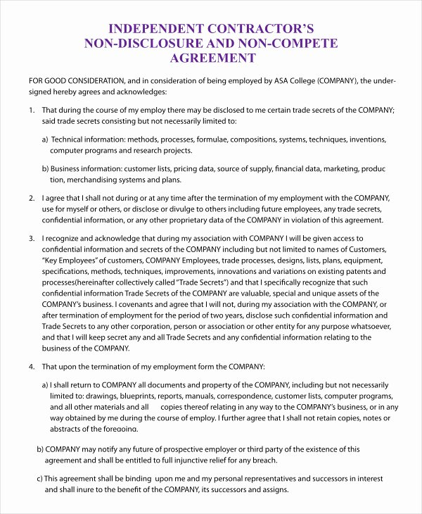 Subcontractor Non Compete Agreement Unique Non Pete Agreement Template 12 Free Word Pdf format