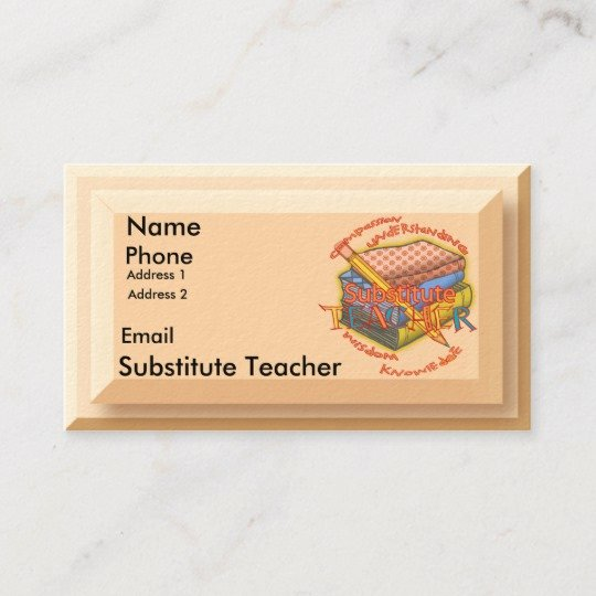 Substitute Teacher Buisness Cards Awesome Substitute Teacher Motto Business Card