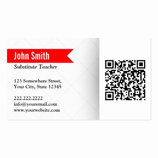 Substitute Teacher Buisness Cards Beautiful Modern Qr Code Substitute Teacher Business Card