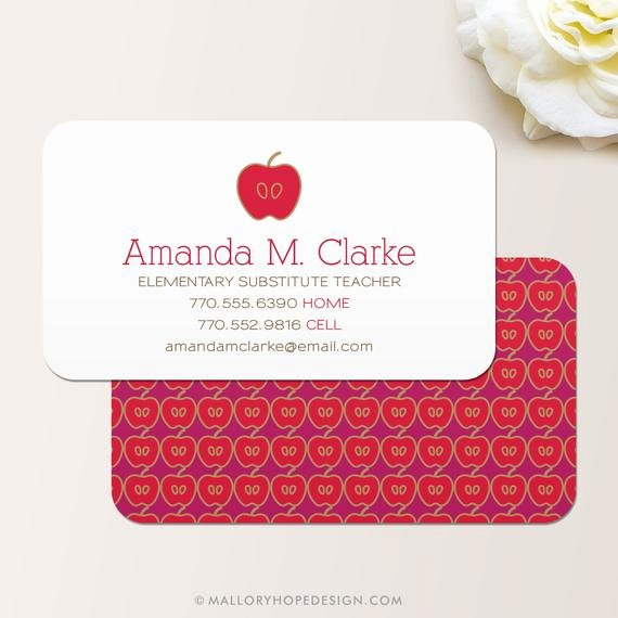Substitute Teacher Buisness Cards Beautiful Teacher Business Card Calling Card Mommy Card Contact