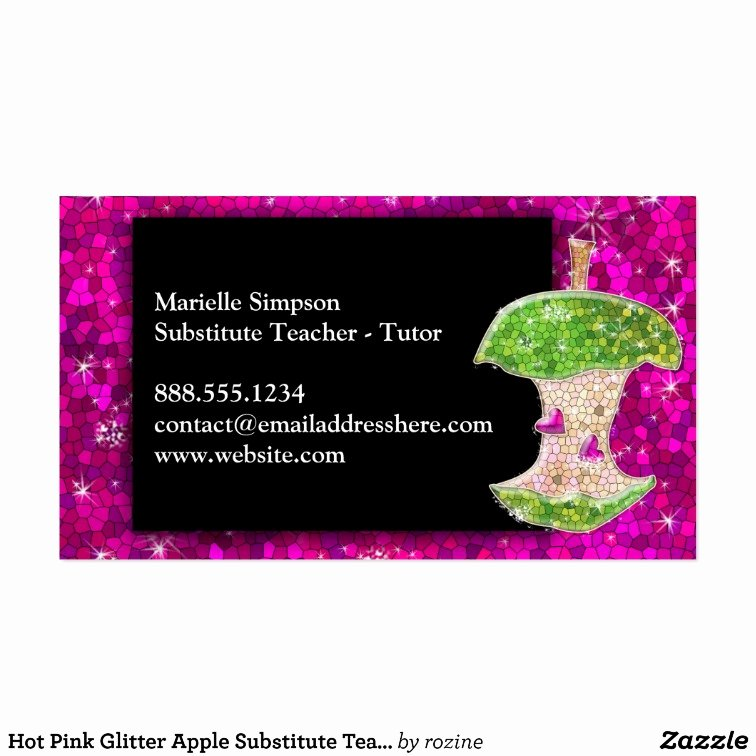 Substitute Teacher Buisness Cards Elegant Hot Pink Glitter Apple Substitute Teacher Tutor Business Card