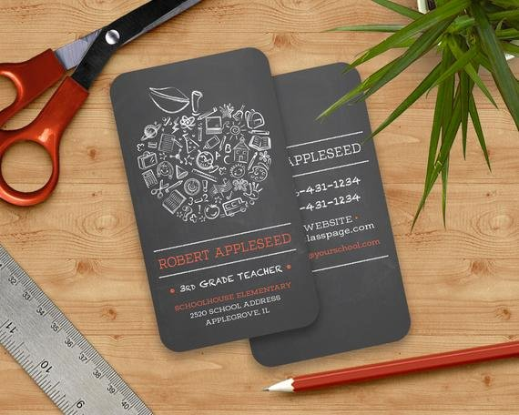 Substitute Teacher Buisness Cards Elegant Items Similar to Teachers Apple Business Card Chalkboard Apple School Elementary Tutor