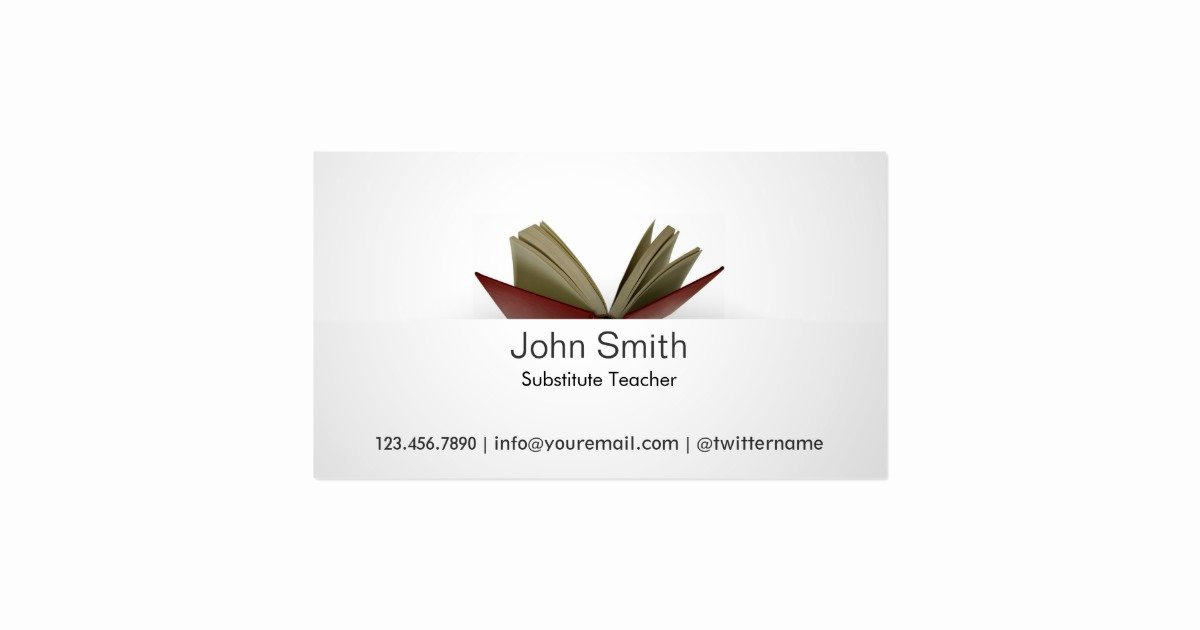 Substitute Teacher Buisness Cards Fresh Subtle Open Book Substitute Teacher Business Card
