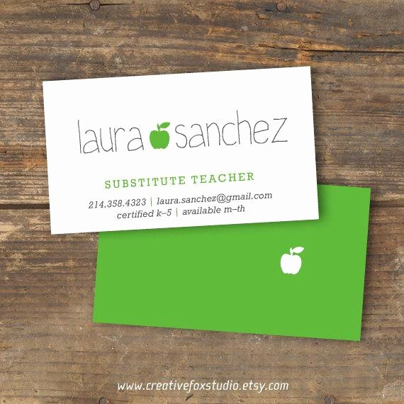 Substitute Teacher Buisness Cards Inspirational Substitute Business Card Applelicious Apple by Creativefoxstudio