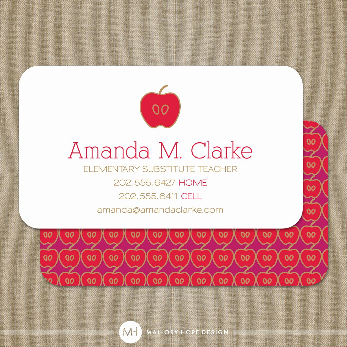 Substitute Teacher Buisness Cards Inspirational Teacher Business Card or Substitute Teacher by Malloryhopedesign