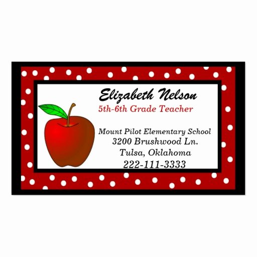 Substitute Teacher Buisness Cards Lovely Whimsical Polka Dots Teacher S Business Card