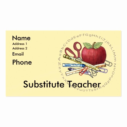 Substitute Teacher Buisness Cards Luxury Substitute Teacher Business Card