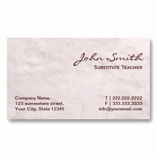 Substitute Teacher Buisness Cards Luxury White Fur Substitute Teacher Business Card Substitute Teacher Business Cards