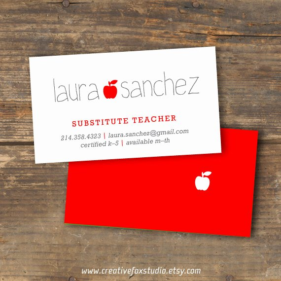 Substitute Teacher Buisness Cards Unique Teacher or Substitute Business Card Applelicious Digital Download Printable