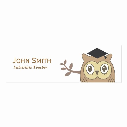 Substitute Teacher Business Card Examples Awesome Dr Owl Substitute Teacher Mini Business Card