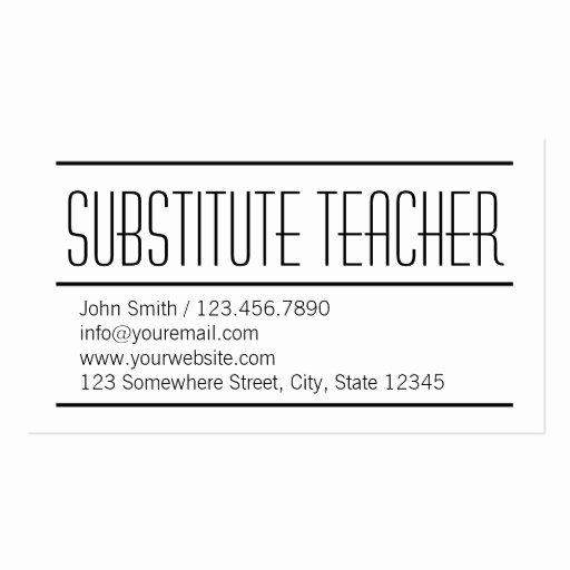 Substitute Teacher Business Card Examples Awesome Modern Simple Substitute Teacher Business Card