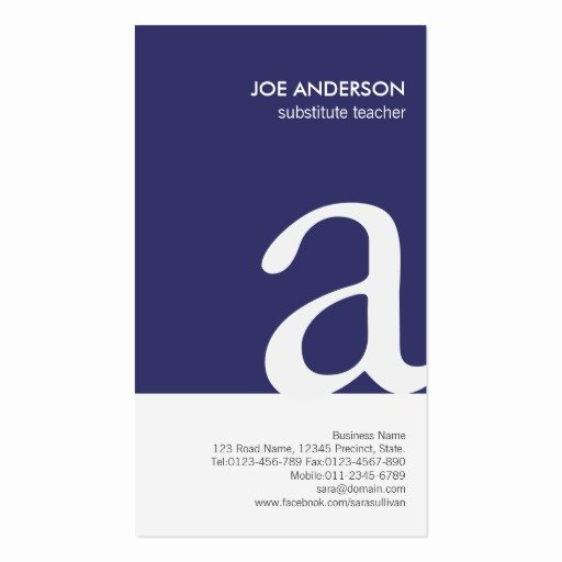Substitute Teacher Business Card Examples Awesome Substitute Teacher Bold Monogram Business Card