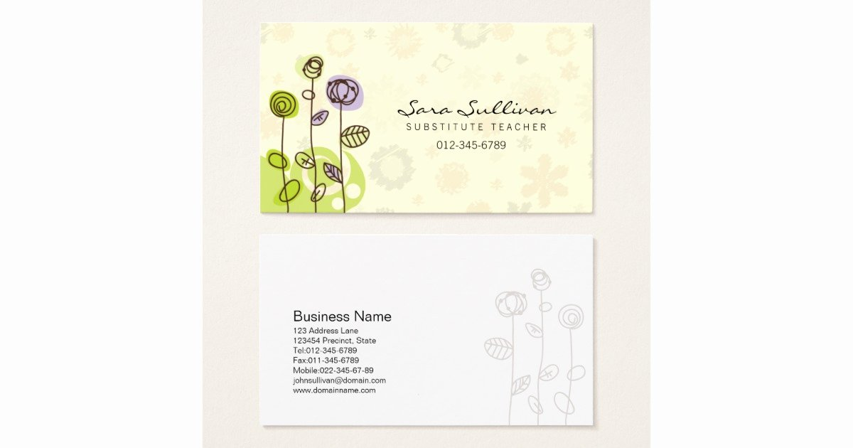 Substitute Teacher Business Card Examples Beautiful Substitute Teacher Business Card Doodle Flowers