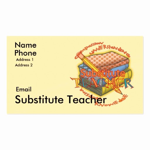 Substitute Teacher Business Card Examples Elegant Substitute Teacher Motto Business Card Templates