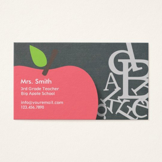 Substitute Teacher Business Card Examples Inspirational School Teacher Apple & Letters Chalkboard Business Card