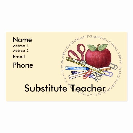 Substitute Teacher Business Card Examples Inspirational Teacher Business Card Templates Page12