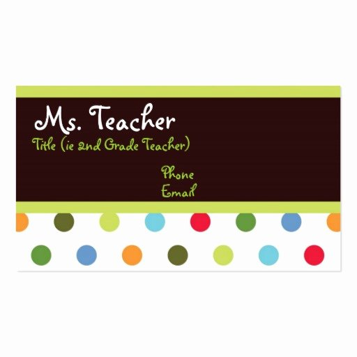 Substitute Teacher Business Card Examples Lovely Hip Dots Teacher Business Card