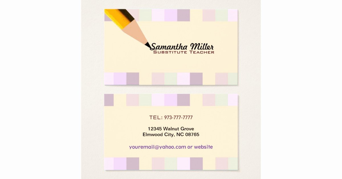 Substitute Teacher Business Card Examples Lovely Substitute Teacher Business Cards