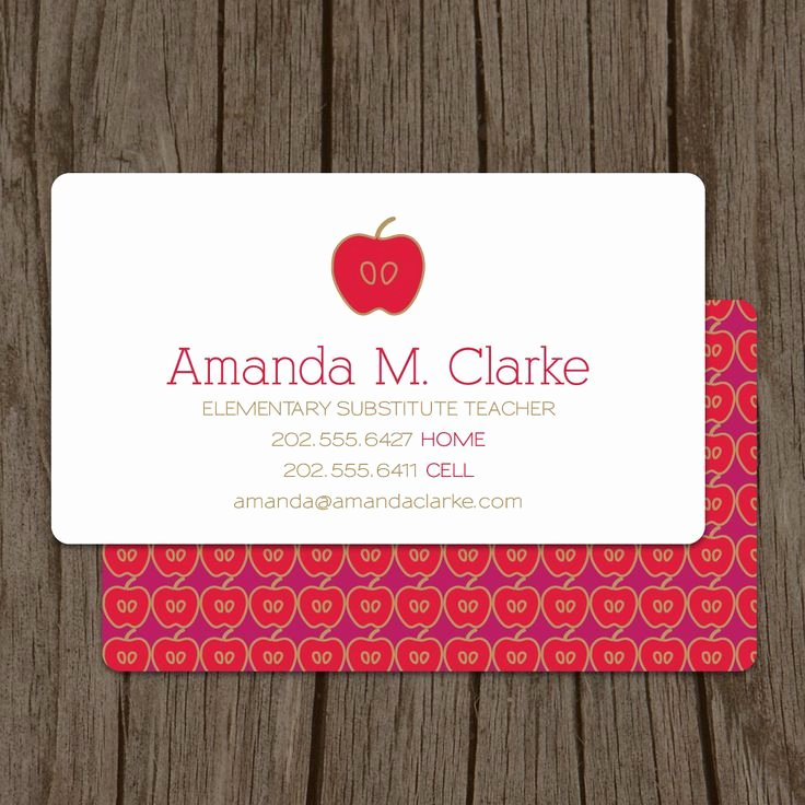 Substitute Teacher Business Card Examples Lovely Teacher Business Card Calling Card Mommy Card Contact Card Teacher Substitute Teacher