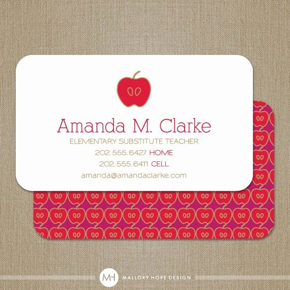 Substitute Teacher Business Card Examples Unique Teacher Business Card Calling Card Mommy Card Contact Card Teacher Substitute Teacher