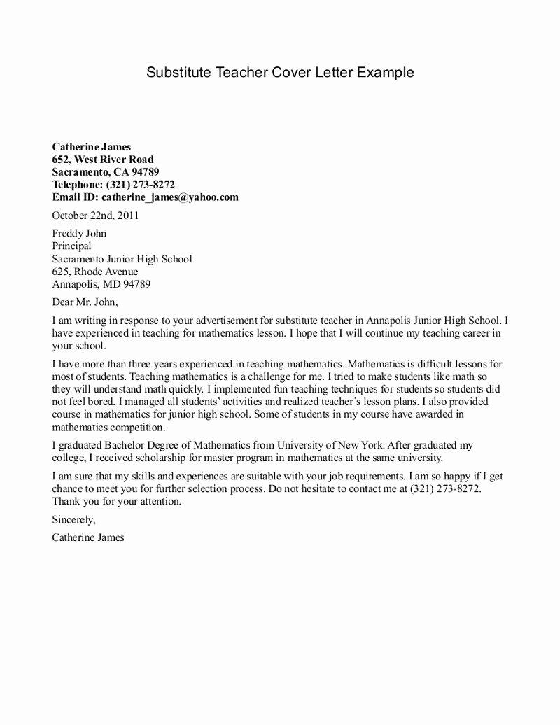 Substitute Teacher Cover Letter Examples Fresh Best S Of Letter Interest for Teaching Letter Of Interest Teaching Position